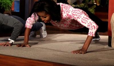 Мишель Обама отжалась 25 раз в прямом эфире