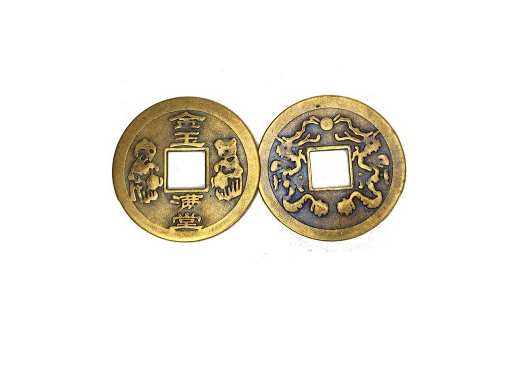 Китайская монета с драконами