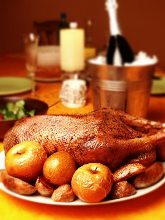 Рождественский гусь с яблоками в духовке: рецепт приготовления птицы, замоченной в маринаде - фото №1