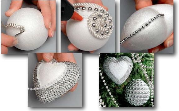 Украсить новогодний шар из пенопласта своими руками