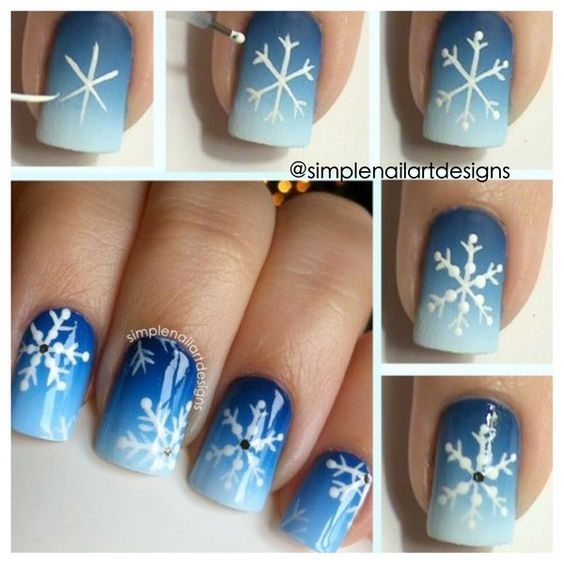 снежинки на ногтях фото пошагово