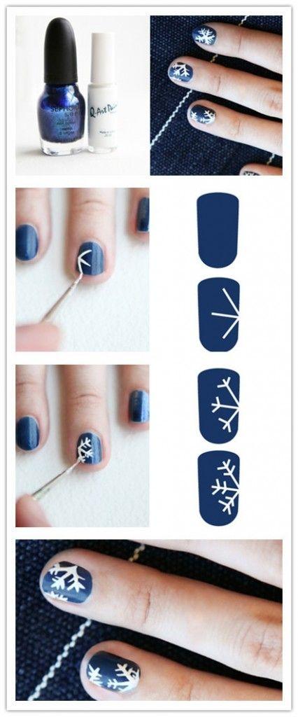 Как нарисовать на ногтях снежинку в домашних условиях