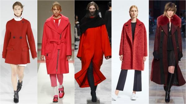 красное пальто осень-зима 2016 2017