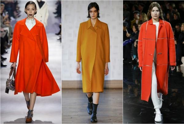 оранжевое пальто осень-зима