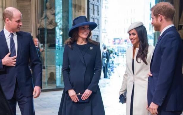 Принц Уильям, Кейт Миддлтон, принц Гарри и Меган Маркл
