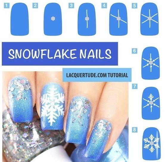 Рисованные снежинки на ногтях