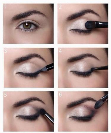 макияж глаз, увеличить глаза с помощью макияжа, техника макияжа, макияж пошагово