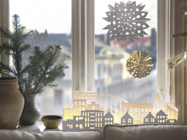декор окна на новый год