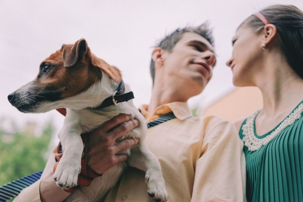 пара с собакой фото