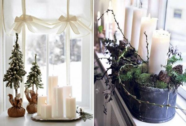 декор окна свечами фото