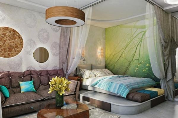 Дизайн интерьера спальни и гостиной совмещенной в одной комнате: фото и идеи