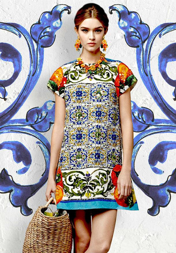 Платье майолика дольче габбана