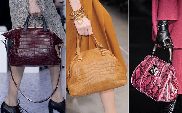 Из самых модных тенденций осени 2013 года прежде всего выделяются сумки из кожи рептилий, меха, нубука...