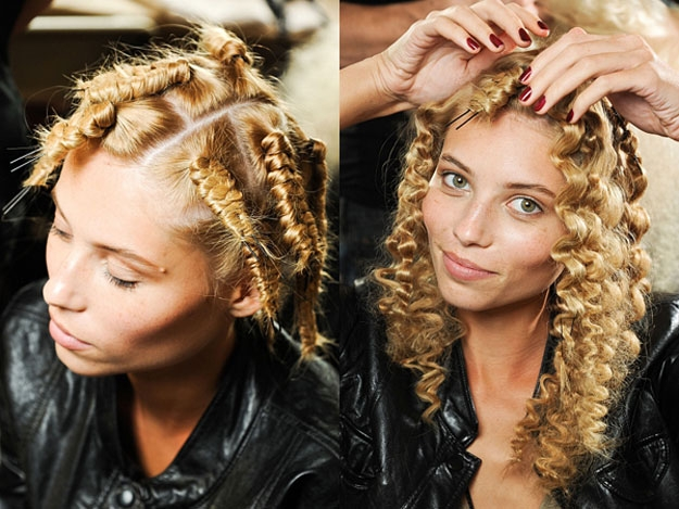 Прическа из волос накрученных на шпильки