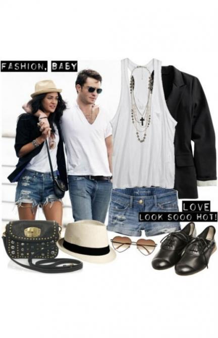 """Люблю луки в небрежном стиле - ношу короткие джинсовые шорты с майкой-""""алкоголичкой"""" и длинным пиджаком."""
