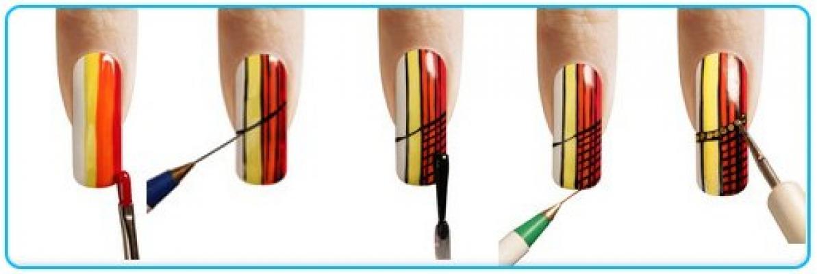 Рисунки акриловыми красками на ногтях схема