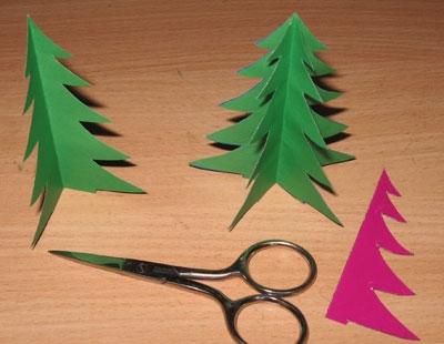 Как сделать ёлочку из цветной бумаги и картона