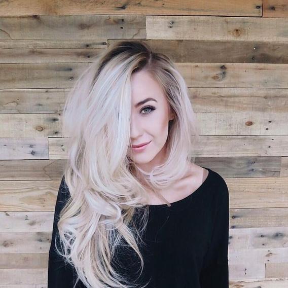 Окраска волос блонд с темными корнями
