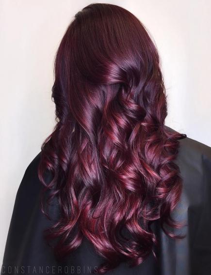 Цвет волос винный фото