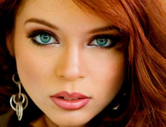 Макияж к рыжим волосам и голубым глазам