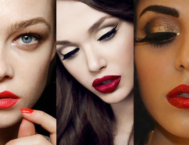 макияж глаз под красную помаду
