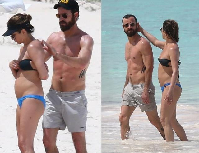 Дженнифер Энистон на пляже Багамских островов интригует округлившимся животиком