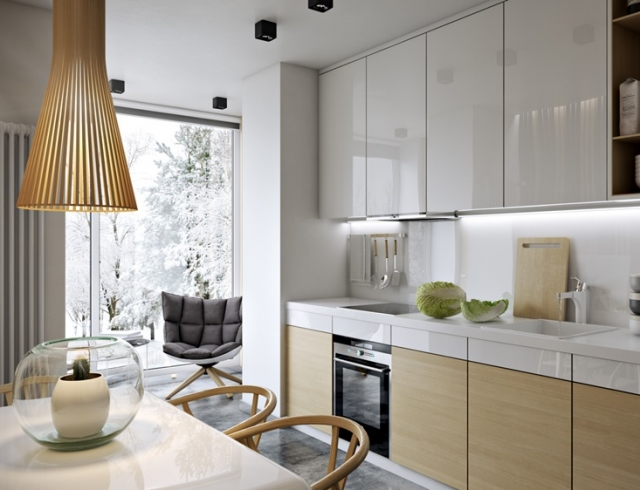 Дизайны интерьеров кухонь с балконами