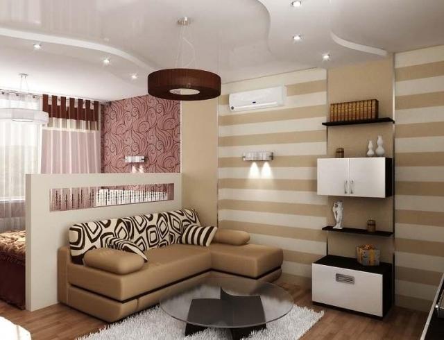 Дизайн интерьера спальни и гостиной совмещенной в одной ...