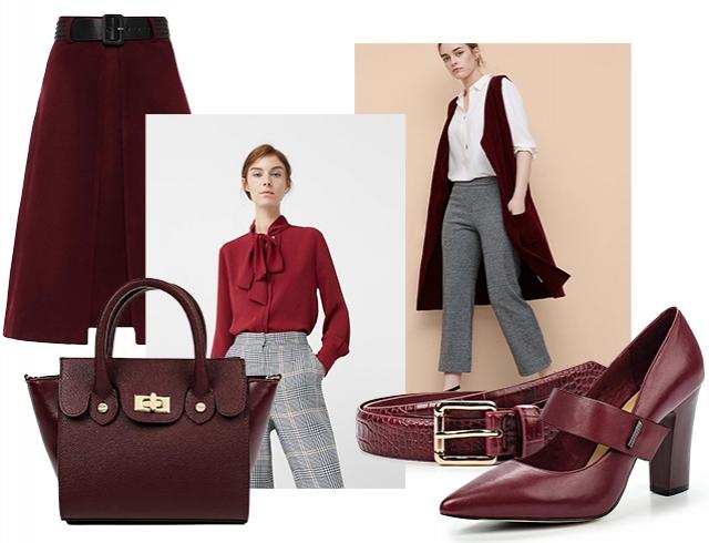 Стильная одежда бордо