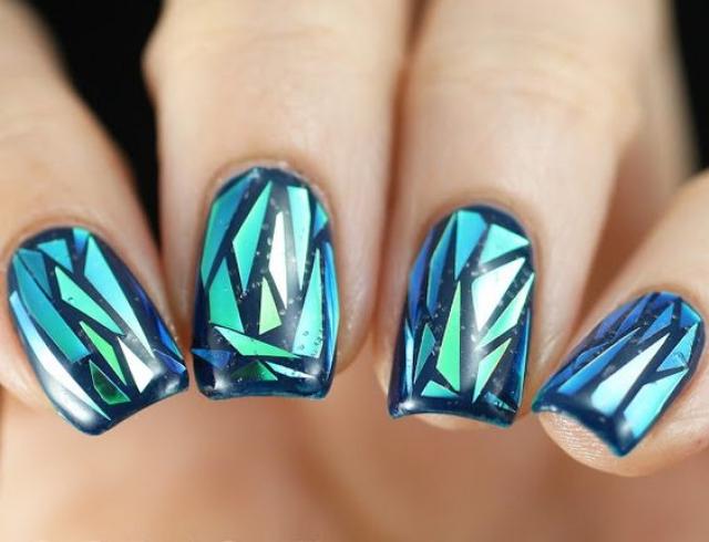 Битое стекло на ногтях дизайн видео
