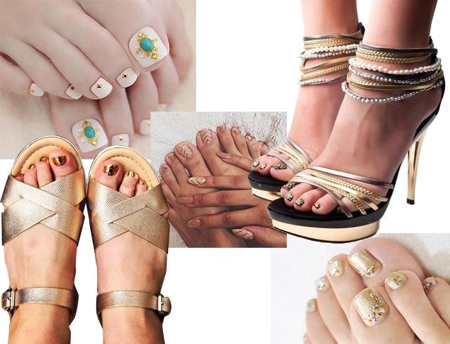 Золотой педикюр как идея для яркого летнего дизайна ногтей