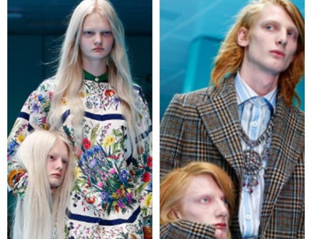 Модели Gucci вышли наподиум ссобственными головами вруках