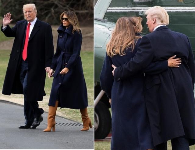Помирились? Дональд Трамп удержал жену от падения (ВИДЕО)