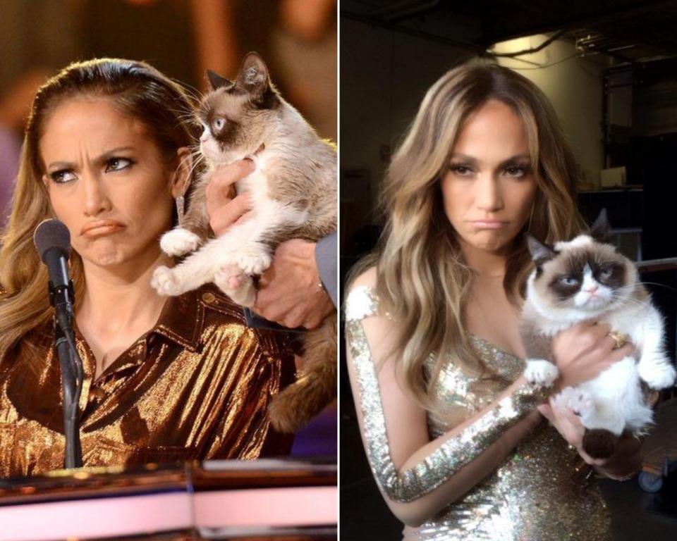Дженнифер Лопес с котом