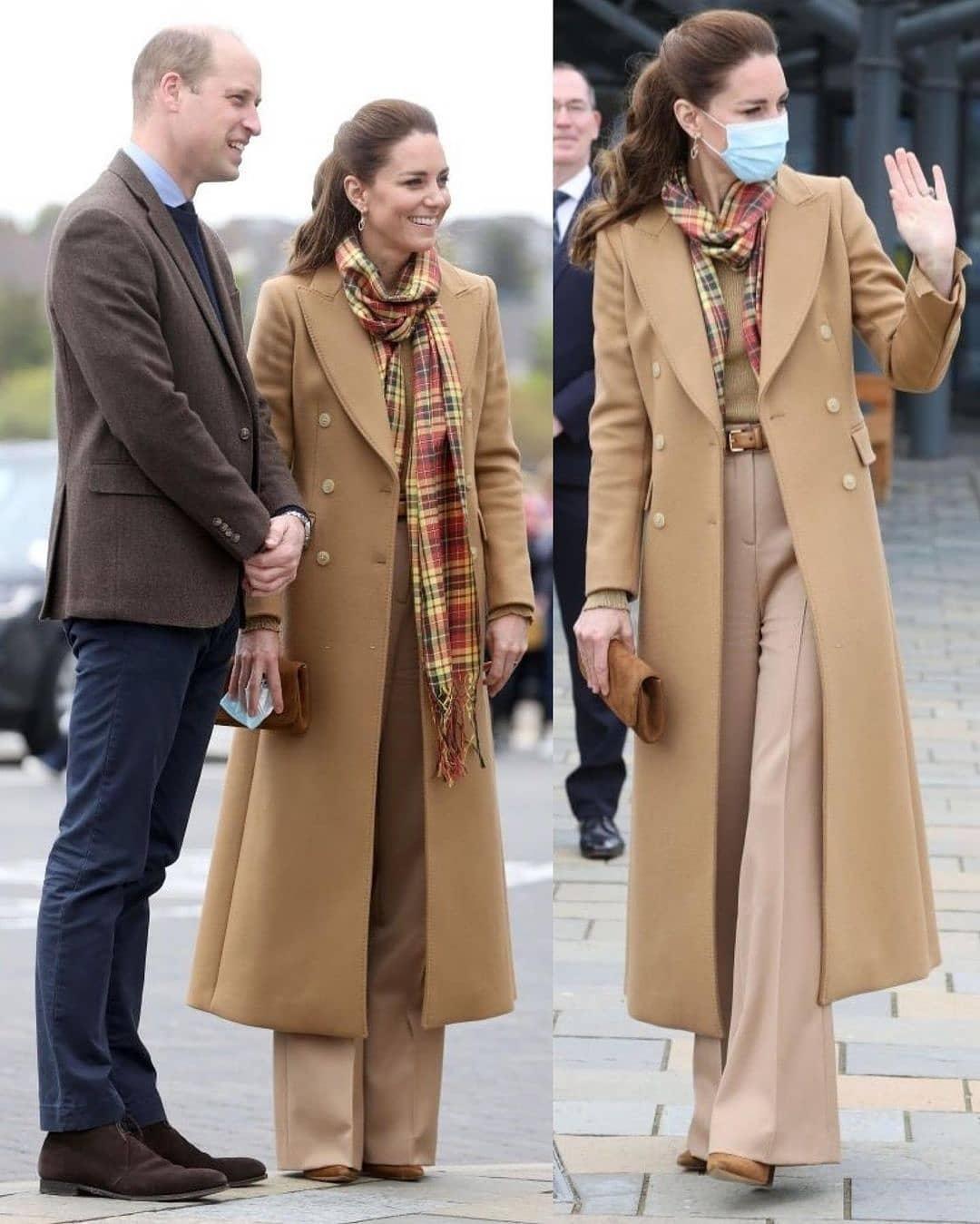 Карамельное пальто и клетчатый шарф: Кейт Миддлтон показала стильный наряд во время рабочей поездки (ФОТО) - фото №2