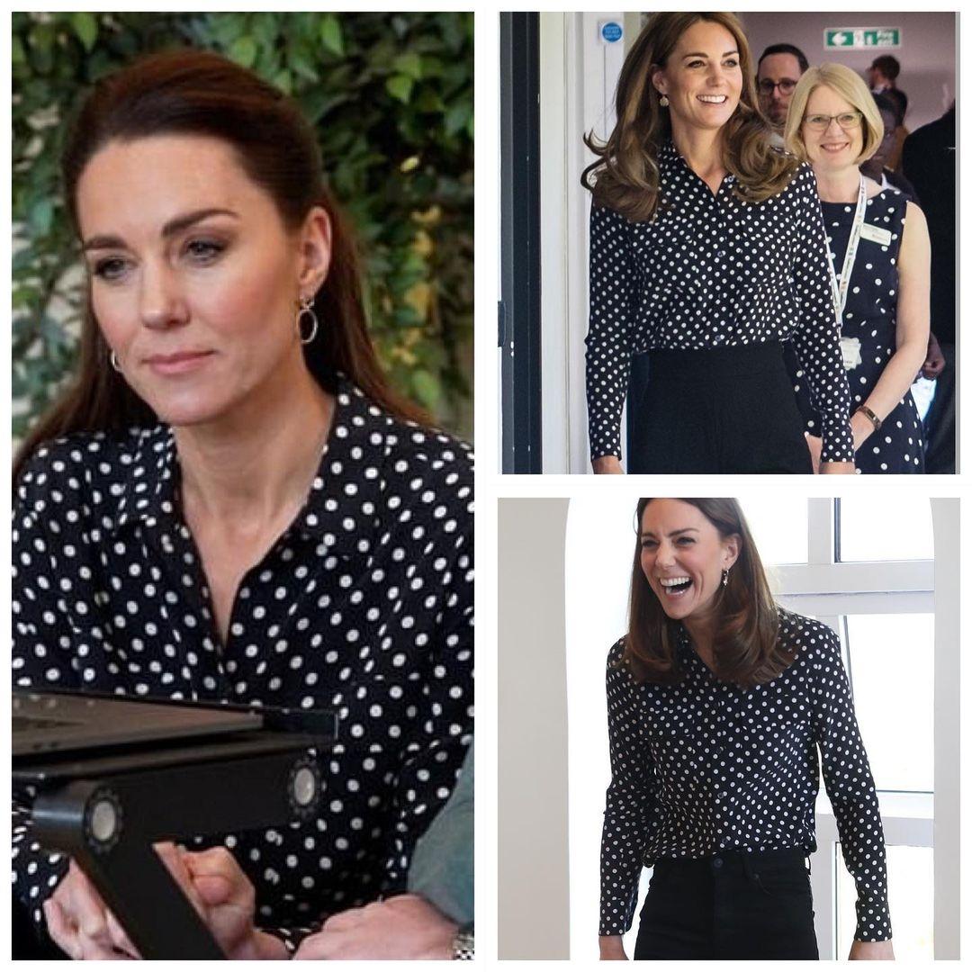 Образ дня: Кейт Миддлтон появилась в трендовой блузе в горох (ФОТО) - фото №2