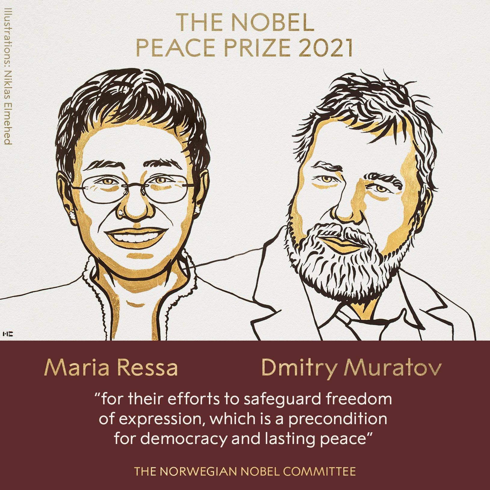 Лауреатами Нобелевской премии мира стали журналисты из России и Филиппин - фото №1