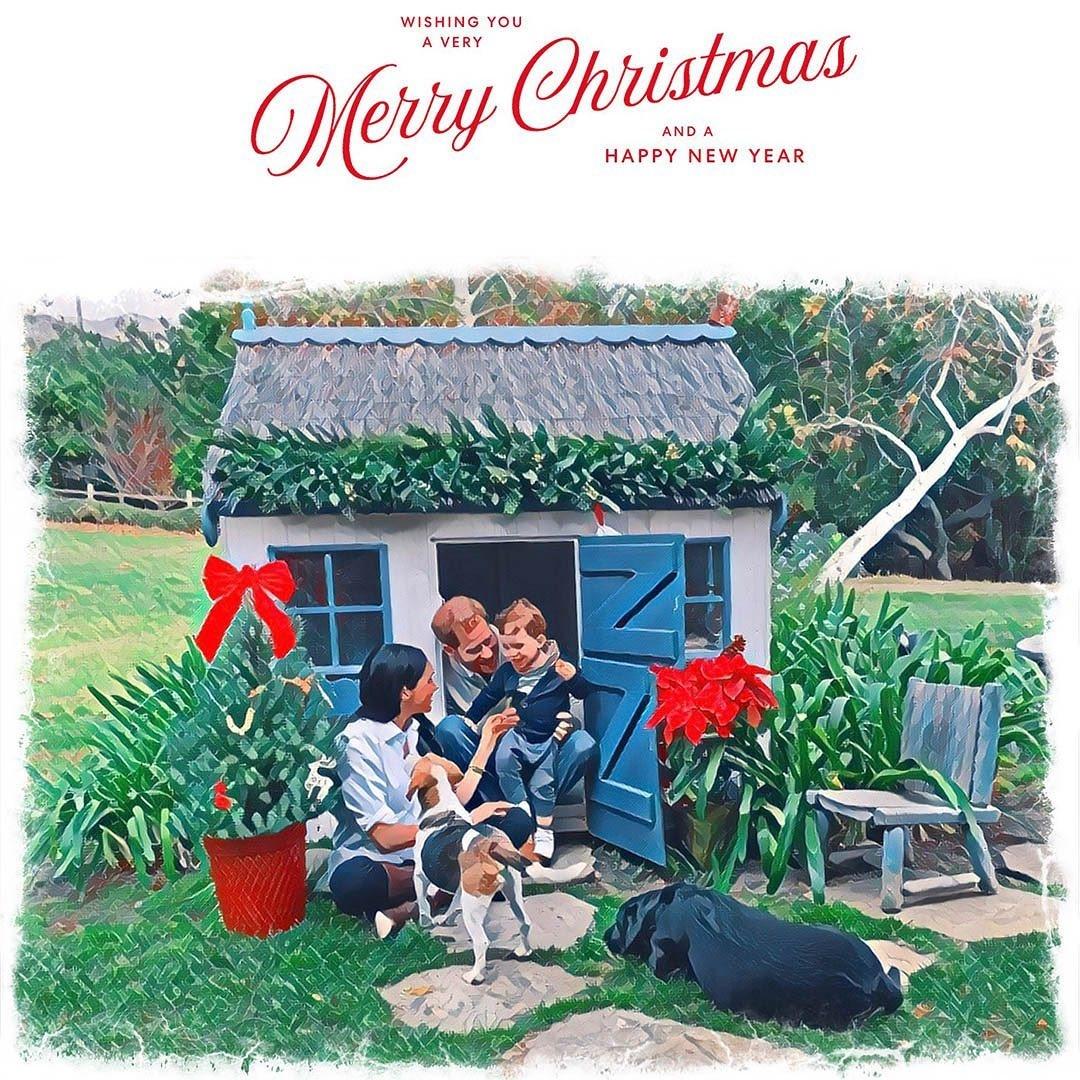 рождественская открытка меган и гарри 2020