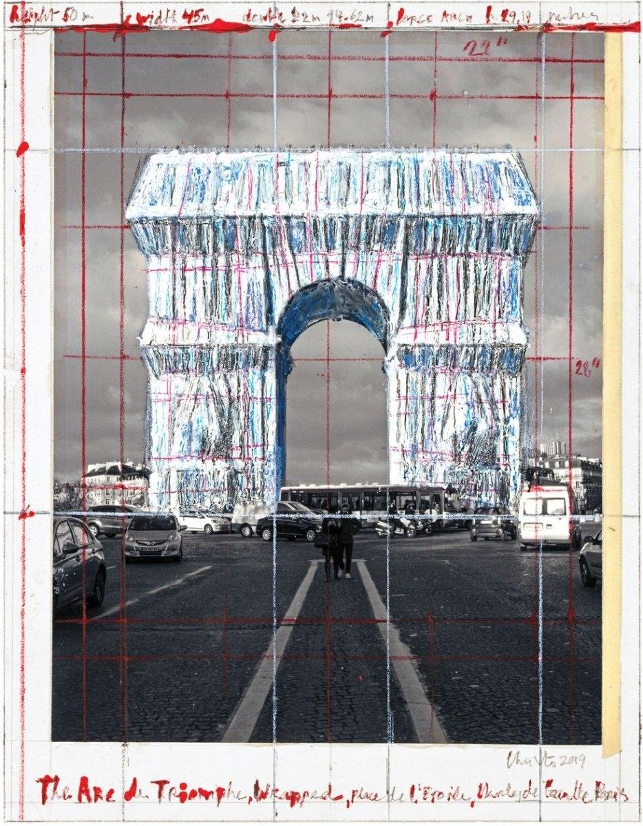 Исполняют последнюю волю художника Христо: Триумфальную арку в Париже обтягивают тканью (ФОТО) - фото №1
