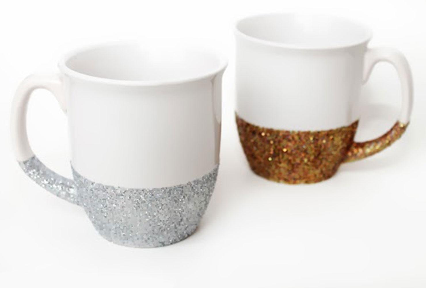 как сделать чашку с блестками