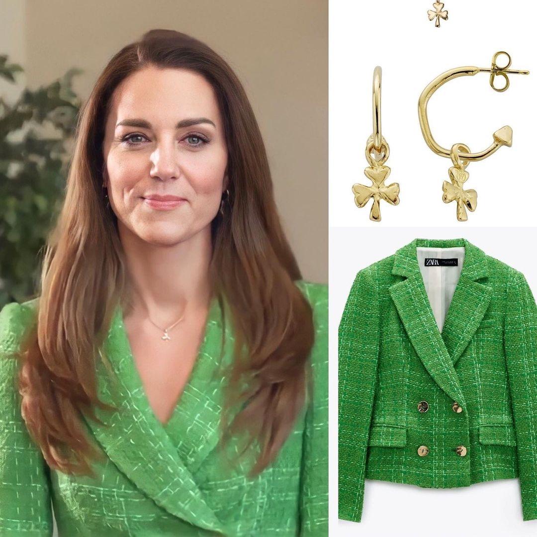 В ярко-зеленом пиджаке и золоте: Кейт Миддлтон поздравила всех с Днем святого Патрика (ФОТО) - фото №1