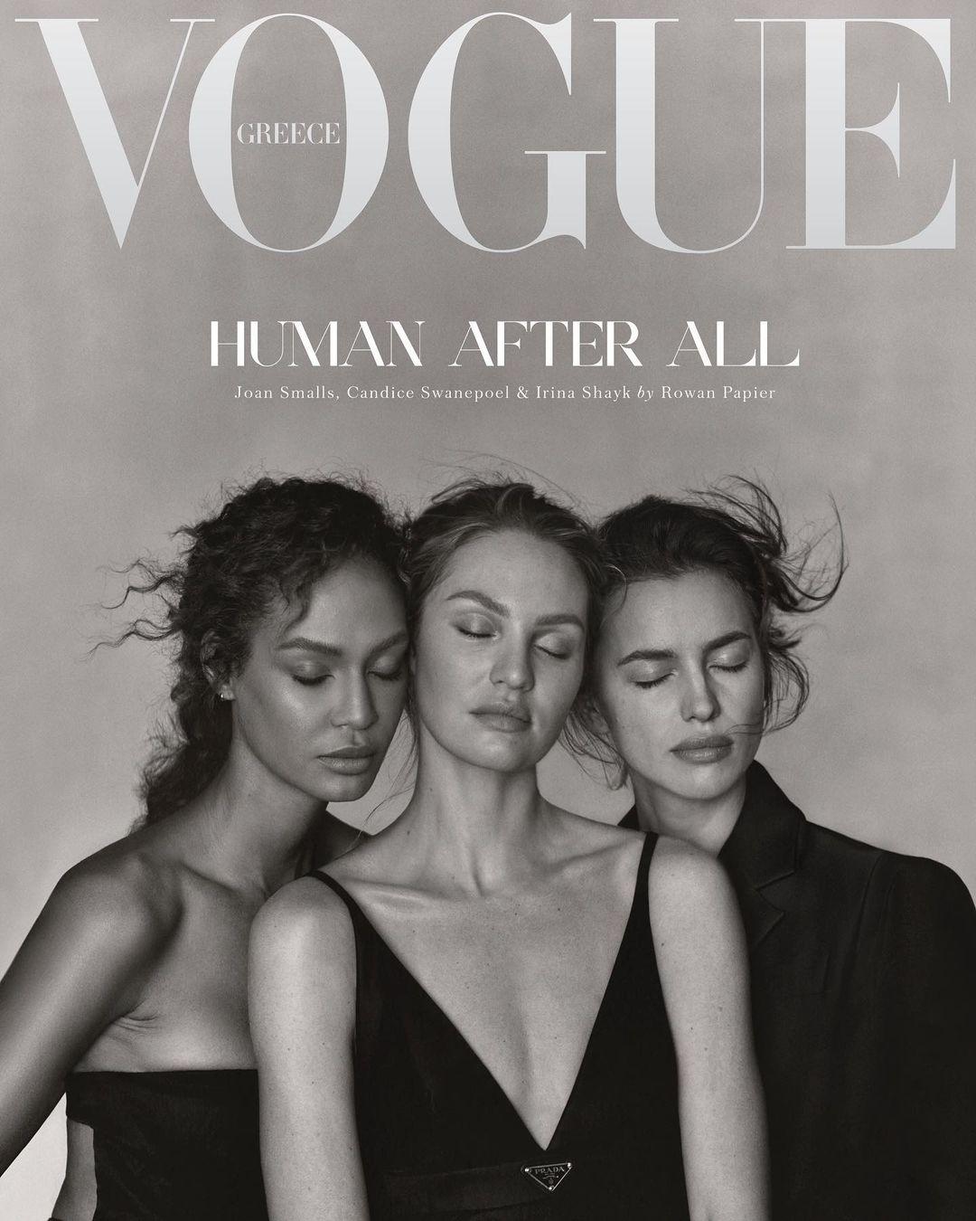 Чувственность и натуральность: Ирина Шейк, Кэндис Свейнпол и Джоан Смоллс на обложке Vogue Greece - фото №1