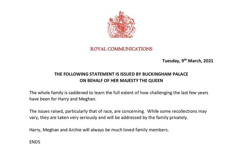 заявление букингемского дворца
