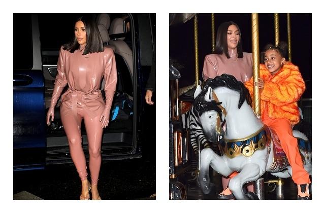 И в церковь, и на неделю моды —Ким Кардашьян в костюмах из латекса - фото №4