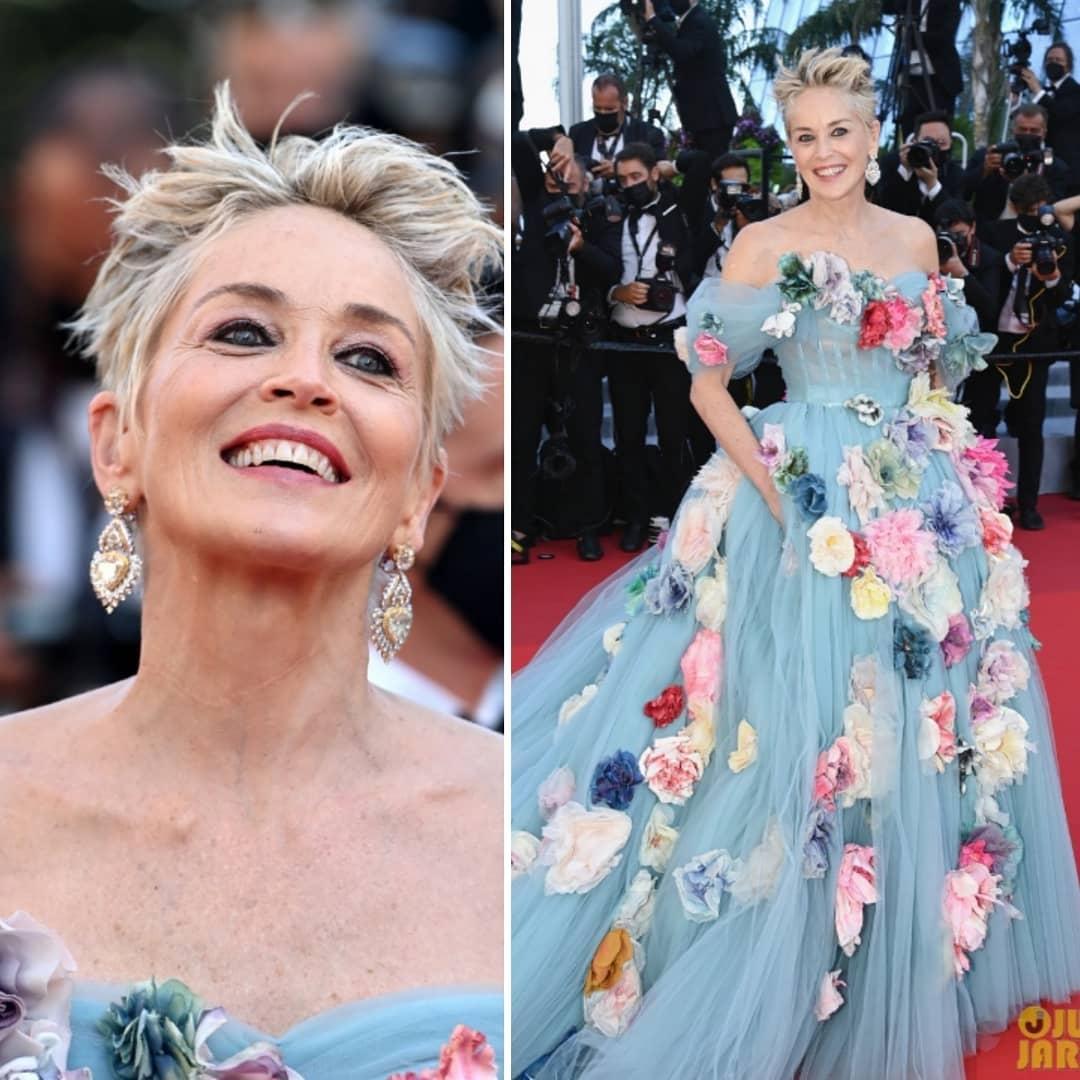 Шэрон Стоун в сказочном платье с цветами произвела фурор на Каннском кинофестивале (ФОТО) - фото №4