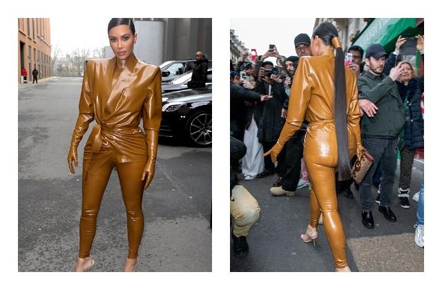 И в церковь, и на неделю моды —Ким Кардашьян в костюмах из латекса - фото №1