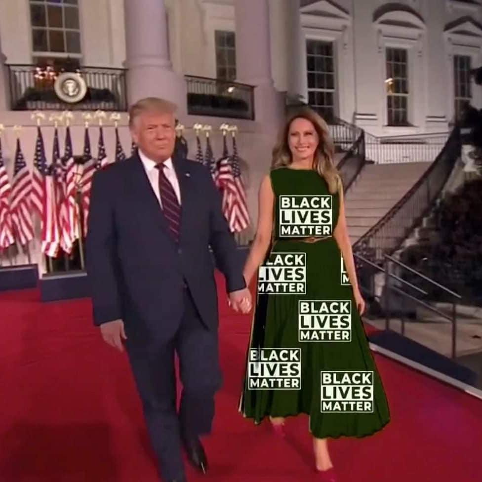 Мелания Трамп платье-хромакей