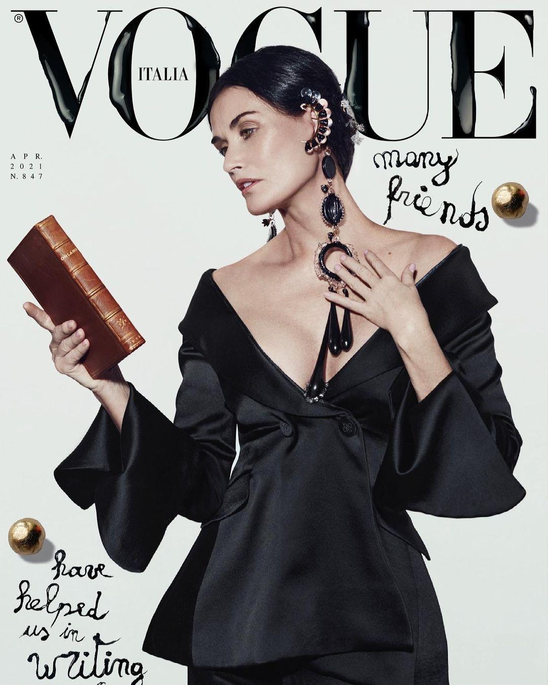 Деми Мур украсила обложку глянцевого журнала Vogue (ФОТО) - фото №1
