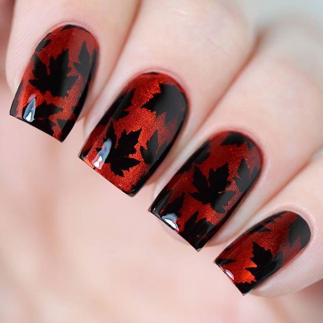 Маникюр с рисунками осенних листьев: лучшие варианты дизайна ногтей - фото №9