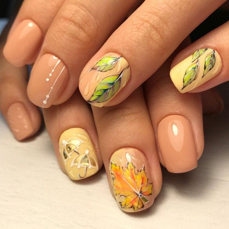 Маникюр с рисунками осенних листьев: лучшие варианты дизайна ногтей - фото №8